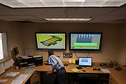 A secondary plant currently under construction at the International Border Water Commission's wastewater treatment facility will treat waste water in a biological process in addition to the chemical process currently in use. Bart Bartholomeo monitors the plant via computers in a small control room at the facility.