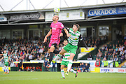 Rob Jones (5) of Hartlepool United beats Alex Lacey (6) of Yeovil Town to get his head to the ball during the EFL Sky Bet League 2 match between Yeovil Town and Hartlepool United at Huish Park, Yeovil, England on 10 September 2016. Photo by Graham Hunt.