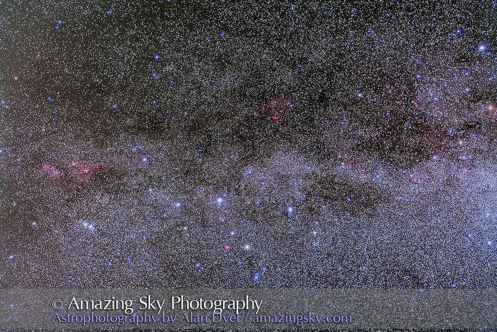Cassiopeia in a stack of 5 x 4 minute exposures with the Canon 5D MkII at ISO 800 and 50mm Sigma lens at f/3.2. Plus two exposures taken thru the Kenko Softon filter for the star glows. Takes in the nebulosity in this part of the Milky Way including NGC 7822 (above center) to IC 1805 (at left). Taken from home Sept, 29, 2013.
