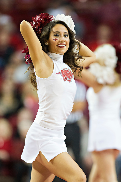 FAYETTEVILLE, AR - NOVEMBER 18:  Cheerleader of the Arkansas Razorbacks performs during a game against the Akron Zips at Bud Walton Arena on November 18, 2015 in Fayetteville, Arkansas.  The Zips defeated the Razorbacks 88-80.  (Photo by Wesley Hitt/Getty Images) *** Local Caption ***