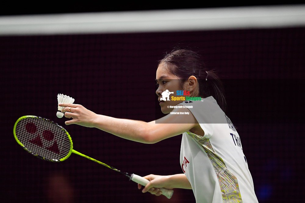BANGKOK, THAILAND - MAY 25: Busanan Ongbamrungphan of Thailand in action on Court 1 during her Semi-Finals match against Li Xuerui of China at the BWF Total Thomas and Uber Cup Finals 2018, Impact Arena , Bangkok, Thailand on May 25, 2018.<br /> .<br /> .<br /> .<br /> Photo by: Naratip Golf Srisupab/SEALs Sports Images<br /> <br /> .<br /> All photo must include a credit line adjacent to the content: Naratip Golf Srisupab/SEALs Sports Images