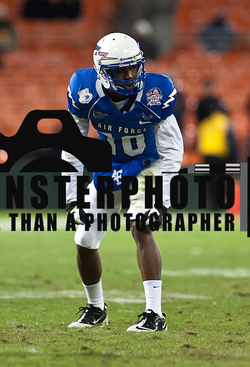 Air Force Wide receiver Mikel Hunter #10  in the first quarter of the 2011 Military Bowl Wednesday, Dec. 28, 2011 at RFK Stadium in Washington DC..