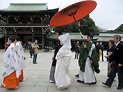 A traditional wedding procession Tokyo Japan Meiji Jingu Shrine