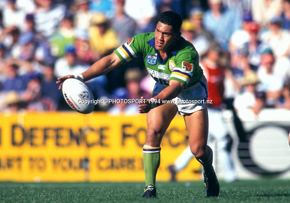 Raiders Ruben Wiki. Winfield Cup, Grand Final, Canberra Raiders v Canterbury Bulldogs, 1994. Photo: Andrew Cornaga/PHOTOSPORT