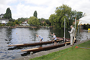 Maidenhead. Great Britain. Amateur Punting Championship, Men's Single. Start,  Thames Punting Club Regatta. River Thames, Bray Reach. Sunday  14/08/2011   [Mandatory credit: Peter Spurrier Intersport Images]