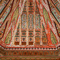 North Africa, Morocco, Marrakesh. Zellij woodwork ceiling of El Bahia Palace