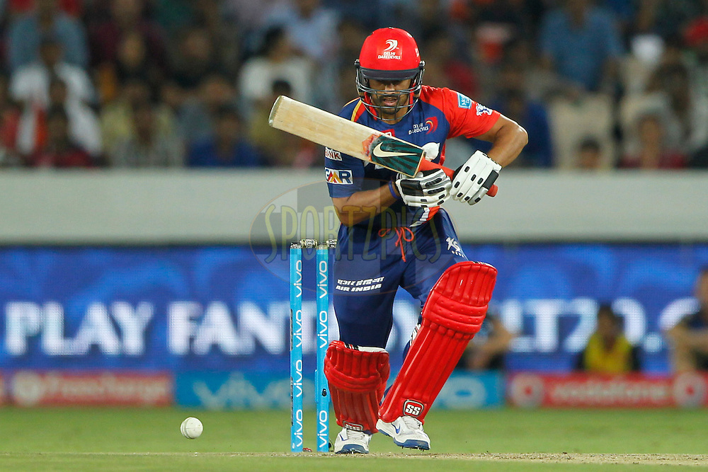 Karun Nair of Delhi Daredevils bats during match 42 of the Vivo IPL 2016 (Indian Premier League ) between the Sunrisers Hyderabad and the Delhi Daredevils held at the Rajiv Gandhi Intl. Cricket Stadium, Hyderabad on the 12th May 2016<br /> <br /> Photo by Deepak Malik / IPL/ SPORTZPICS