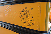 School leaders leave messages inspired by #greatallover on a bus during the Summer Leadership Institute at Reliant Center, June 18, 2013.