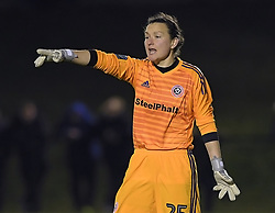 February 20, 2019 - Sheffield, United Kingdom - Sheffield United Goalkeeper Nikki Harris shouts to the defence during the  FA Women's Championship football match between Sheffield United Women and Manchester United Women at the Olympic Legacy Stadium, on February 20th Sheffield, England. (Credit Image: © Action Foto Sport/NurPhoto via ZUMA Press)