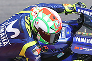 New helmet for #46 Valentino Rossi, Italian: Movistar Yamaha MotoGP during Friday Practice at the MotoGP Gran Premio d'Italia Oakley at Autodromo del Mugello Circuit, Senni-San Carlo, Italy on 2 June 2018. Picture by Graham Holt.
