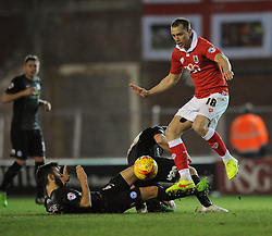 Bristol City's Aaron Wilbraham challenges for the ball with Peterborough United's Jack Payne and Peterborough United's David Norris - Photo mandatory by-line: Dougie Allward/JMP - Mobile: 07966 386802 - 17/02/2015 - SPORT - Football - Bristol - Ashton Gate - Bristol City v Peterborough United - Sky Bet League One