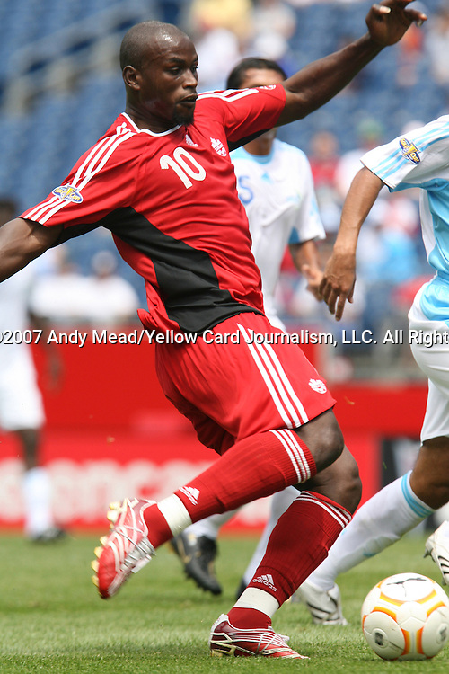 16 June 2007: Canada's Ali Gerba sends in a shot that resulted in Canada's first goal in the 17th minute. The Canada Men's National team defeated the Guatemala Men's National Team 3-0 at Gillette Stadium in Foxboro, Massachusetts in a 2007 CONCACAF Gold Cup quarterfinal.