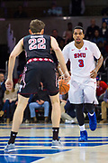 DALLAS, TX - JANUARY 04:  Sterling Brown #3 of the SMU Mustangs brings the ball up court against Mike Robbins #22 of the Temple Owls during a basketball game on January 4, 2017 at Moody Coliseum in Dallas, Texas.  (Photo by Cooper Neill/Getty Images) *** Local Caption *** Sterling Brown; Mike Robbins