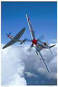 Spitfre MKXIVs in acrobatic flight, aerial
