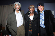 l to r: Gil Scott-Heron, Talib Kweli and Glen Turner backstage at The National Black Writers Conference Concert Presents Gil Scott Heron, Talib Kweli & Gary Bartz Produced by Jill Newman Productions and held at Littlefield on March 27, 2010 in Brooklyn, New York. Terrence Jennings/Retna, Ltd..**exclusive**