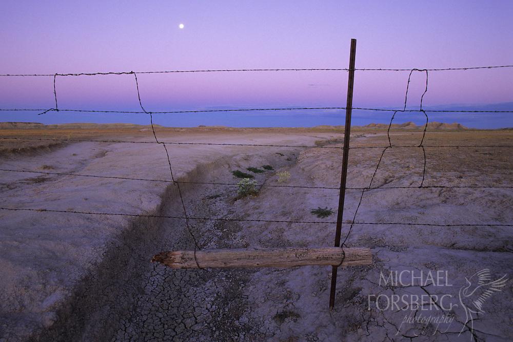 A calm moonset in the Conata Basin, South Dakota.