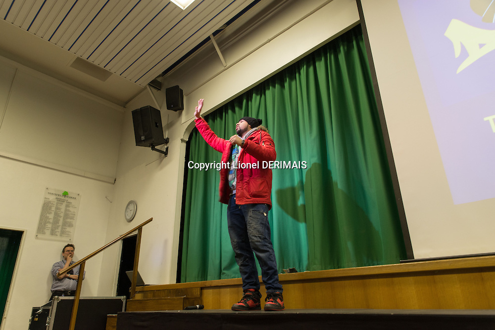 """Stand-up muslim comedian Humza Arshad in Whitefield school in North London (Great Britain) works alongside Scotland Yard with a show called """"Think for yourself"""" to help fight radicalization."""
