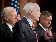 June 23, 2010 - Washington, District of Columbia, U.S., - Senators John McCain, Joe Lieberman and Lindsey Graham hold a press conference on the resignation Gen. Stanley McChrystal and President Obama's decision to ask Gen. David Petraeus to replace him as commander in Afghanistan. (Credit Image: © Pete Marovich/ZUMA Press)