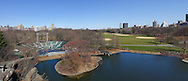 Turtle Pond, Great Lawn and Delacorte Theater still dormant, awaiting a new season of activity in Central Park.