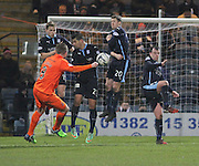 The Dundee defensive wall of Greg Stewart' Luka Tankulic, Jim McAlister and Paul McGowan block a Sammy Clingan free kick -  Dundee v Kilmarnock, SPFL Premiership at Dens Park <br /> <br /> <br />  - &copy; David Young - www.davidyoungphoto.co.uk - email: davidyoungphoto@gmail.com