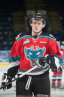 KELOWNA, CANADA - NOVEMBER 8: Austin Glover #20 of Kelowna Rockets warms up against the Vancouver Giants on November 8, 2014 at Prospera Place in Kelowna, British Columbia, Canada.   (Photo by Marissa Baecker/Shoot the Breeze)  *** Local Caption *** Austin Glover;