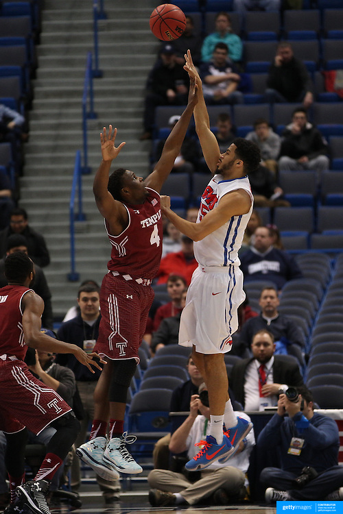 Cannen Cunningham, SMU, shoots over Daniel Dingle, Temple, during the Temple Vs SMU Semi Final game at the American Athletic Conference Men's College Basketball Championships 2015 at the XL Center, Hartford, Connecticut, USA. 14th March 2015. Photo Tim Clayton