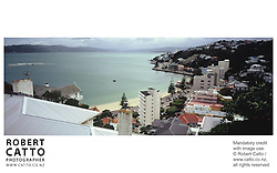 A panoramic view of Oriental Bay, from Mt Victoria, Wellington. at Oriental Bay, Wellington, New Zealand.