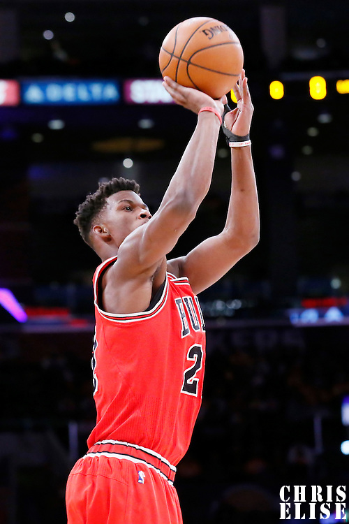 29 January 2015: Chicago Bulls guard Jimmy Butler (21) takes a jump shot during the Los Angeles Lakers 123-118 2OT victory over the Chicago Bulls, at the Staples Center, Los Angeles, California, USA.