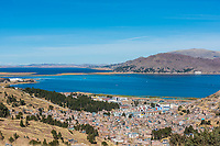Aerial view of Titicaca Lake in the peruvian Andes at Puno Peru