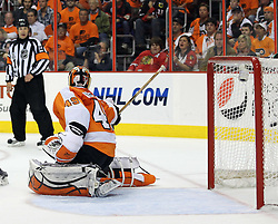 June 9, 2010; Philiadelphia, PA; USA;  Chicago Blackhawks left wing Andrew Ladd (16) scores a goal past Philadelphia Flyers goalie Michael Leighton (49) during the second period of Game 6 of the Stanley Cup Finals at the Wachovia Center.
