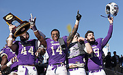 Kyle Hawkins, Taylor Reynolds,Gunner Cane, and a fellow teammate Celebrates after the trophy celebration. James Madison defeated Youngstown State 28-14. January 7, 2017 Frisco, Texas. (Jerome Hicks/ Space City Images)