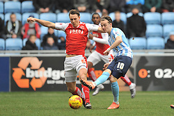 ADAM ARMSTRONG COVENTRY CITY, BATTLES WITH FLEETWOODS VICTOR NIRENNOLD, FLEETWOODS EGGERT JONSSON STOPS COVENTRYS JAMES MADDISON, Coventry City v Fleetwood Town Ricoh Arena, Sky Bet League One Saturday 27th February 2016