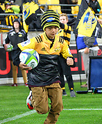 Match ball, kid during the Round 14 Super Rugby match, Hurricanes v Highlanders at Westpac Stadium, Wellington. 27th May 2016. Copyright Photo.: Grant Down / www.photosport.nz