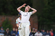 Liam Norwell of Warwickshire with his hands to his head during the Specsavers County Champ Div 1 match between Yorkshire County Cricket Club and Warwickshire County Cricket Club at York Cricket Club, York, United Kingdom on 17 June 2019.