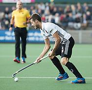 AMSTELVEEN -  Nicky Leijs (A'dam)  tijdens Amsterdam-Tilburg (4-2), competitie Hoofdklasse hockey heren   (2017-2018) . COPYRIGHT KOEN SUYK
