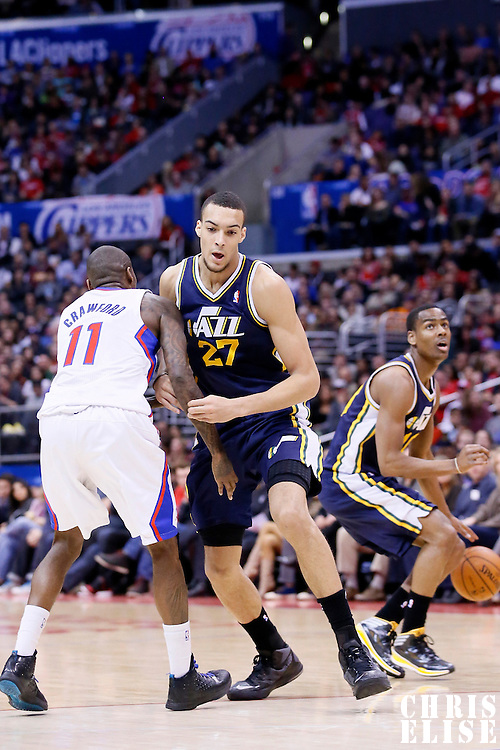 01 February 2014: Utah Jazz center Rudy Gobert (27) sets a screen on Los Angeles Clippers shooting guard Jamal Crawford (11) during the Los Angeles Clippers 102-87 victory over the Utah Jazz at the Staples Center, Los Angeles, California, USA.