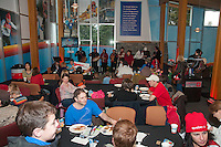 Families enjoy the crafts, fun, music and culture at the Pancake Breakfast at Canada House in Whistler during the 2010 Olympic Winter Games.