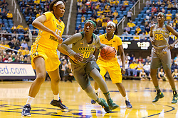 Jan 30, 2016; Morgantown, WV, USA; Baylor Bears guard Alexis Jones (30) drives down the lane during the second quarter against the West Virginia Mountaineers at WVU Coliseum. Mandatory Credit: Ben Queen-USA TODAY Sports