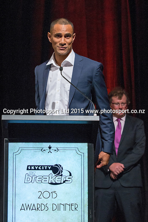 Mika Vukona speaks after receiving the Player`s Player Award at the SkyCity Breakers Awards, 2014-15, SkyCity Convention Centre, Auckland, New Zealand, Friday, March 20, 2015. Copyright photo: David Rowland / www.photosport.co.nz