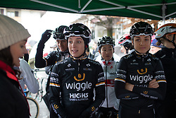 Elinor Barker (GBR) and Audrey Cordon-Ragot (FRA) of Wiggle Hi5 Cycling Team the Trofeo Alfredo Binda - a 131,1 km road race, between Taino and Cittiglio on March 18, 2018, in Varese, Italy. (Photo by Balint Hamvas/Velofocus.com)
