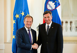 Donald Tusk, President of the European Council at meeting with Borut Pahor, president of Republic of Slovenia, on April 3, 2017 in Ljubljana, Slovenia. Photo by Vid Ponikvar / Sportida