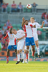 OSLO, NORWAY - Wednesday, August 5, 2009: Liverpool's Lucas Leiva and Jay Spearing in action against FC Lyn Oslo during a preseason match at the Bislett Stadion. (Pic by David Rawcliffe/Propaganda)