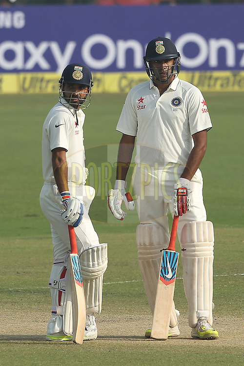 Ajinkya Rahane of India and Ravichandran Ashwin of India  during day two of the 4th Paytm Freedom Trophy Series Test Match between India and South Africa held at the Feroz Shah Kotla Stadium in Delhi, India on the 4th December 2015<br /> <br /> Photo by Ron Gaunt  / BCCI / SPORTZPICS