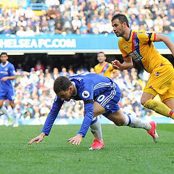 Eden Hazard of Chelsea goes to ground during Chelsea vs Crystal Palace, Premier League , 01.04.17 (c) Harriet Lander | SportPix.org.uk