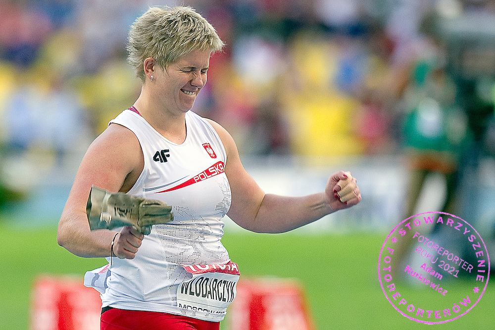 Anita Wlodarczyk competes in women's hammer throw final during the 14th IAAF World Athletics Championships at the Luzhniki stadium in Moscow on August 16, 2013.<br /> <br /> Russian Federation, Moscow, August 16, 2013<br /> <br /> Picture also available in RAW (NEF) or TIFF format on special request.<br /> <br /> For editorial use only. Any commercial or promotional use requires permission.<br /> <br /> Mandatory credit:<br /> Photo by &copy; Adam Nurkiewicz / Mediasport
