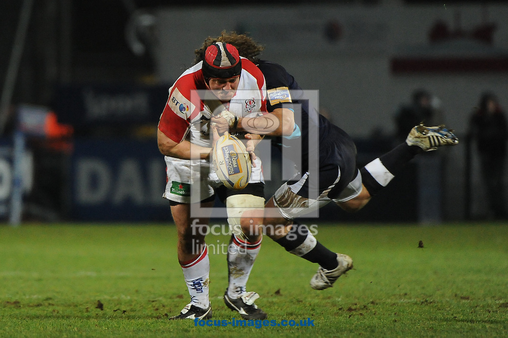 Picture by Ramsey Cardy/Focus Images Ltd +44 7809 235323.15/02/2013.Declan Fitzpatrick of Ulster Rugby and Marco Bergamasco of Zebre during the RaboDirect Pro12 match at Ravenhill Stadium, Belfast.