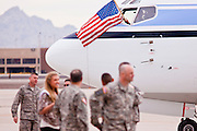 "15 JANUARY 2012 - PHOENIX, AZ:    The plane carrying returning solders flies an American flag on arrival at the The 161st Air Refueling Wing of the Arizona Air National Guard in Phoenix. About 100 soldiers of A (Alpha) Company of the 422nd Expeditionary Signal Battalion (referred to as ""Alpha 4-2-2"") of the Arizona Army National Guard returned to Arizona on Sunday, Jan. 15, following a nearly year-long deployment to Afghanistan. More than 10,000 Arizona Army and Air National Guard Soldiers and Airmen have been ordered to federal active duty in support of Operations Noble Eagle, Enduring Freedom, Iraqi Freedom, and New Dawn since September 2001. Approximately 200 Arizona National Guard Soldiers and Airmen are still serving on federal active duty overseas.  PHOTO BY JACK KURTZ"