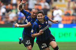 29.04.2012, Stadion Giuseppe Meazza, Mailand, ITA, Serie A, Inter Mailand vs AC Cesena, 35. Spieltag, im Bild Esultanza di Mauro Zarate, Goal Celebration // during the football match of Italian 'Serie A' league, 35th round, between Inter Mailand and AC Cesena at Stadium Giuseppe Meazza, Milan, Italy on 2012/04/29. EXPA Pictures © 2012, PhotoCredit: EXPA/ Insidefoto/ Paolo Nucci..***** ATTENTION - for AUT, SLO, CRO, SRB, SUI and SWE only *****