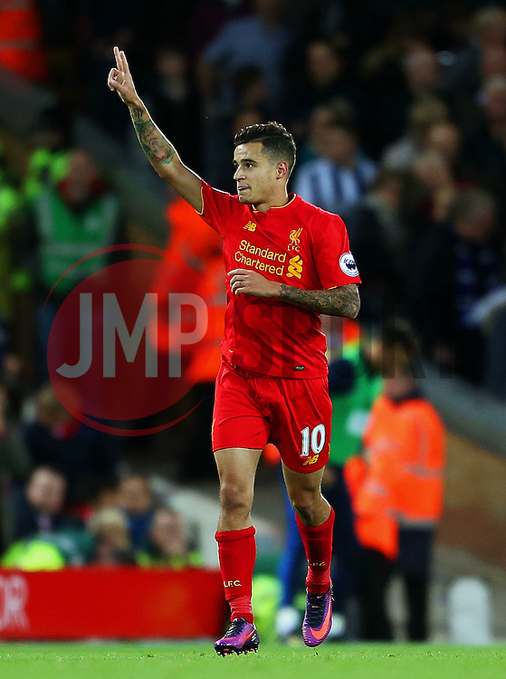 Philippe Coutinho of Liverpoolcelebrates after scoring his sides second goal  - Mandatory by-line: Matt McNulty/JMP - 22/10/2016 - FOOTBALL - Anfield - Liverpool, England - Liverpool v West Bromwich Albion - Premier League