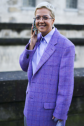 March 4, 2018 - Paris, France - Ksenia Chilingarova wears glasses, a purple blazer jacket, flare pants, outside Valentino, during Paris Fashion Week Womenswear Fall/Winter 2018/2019, on March 4, 2018 in Paris, France. (Credit Image: © Nataliya Petrova/NurPhoto via ZUMA Press)